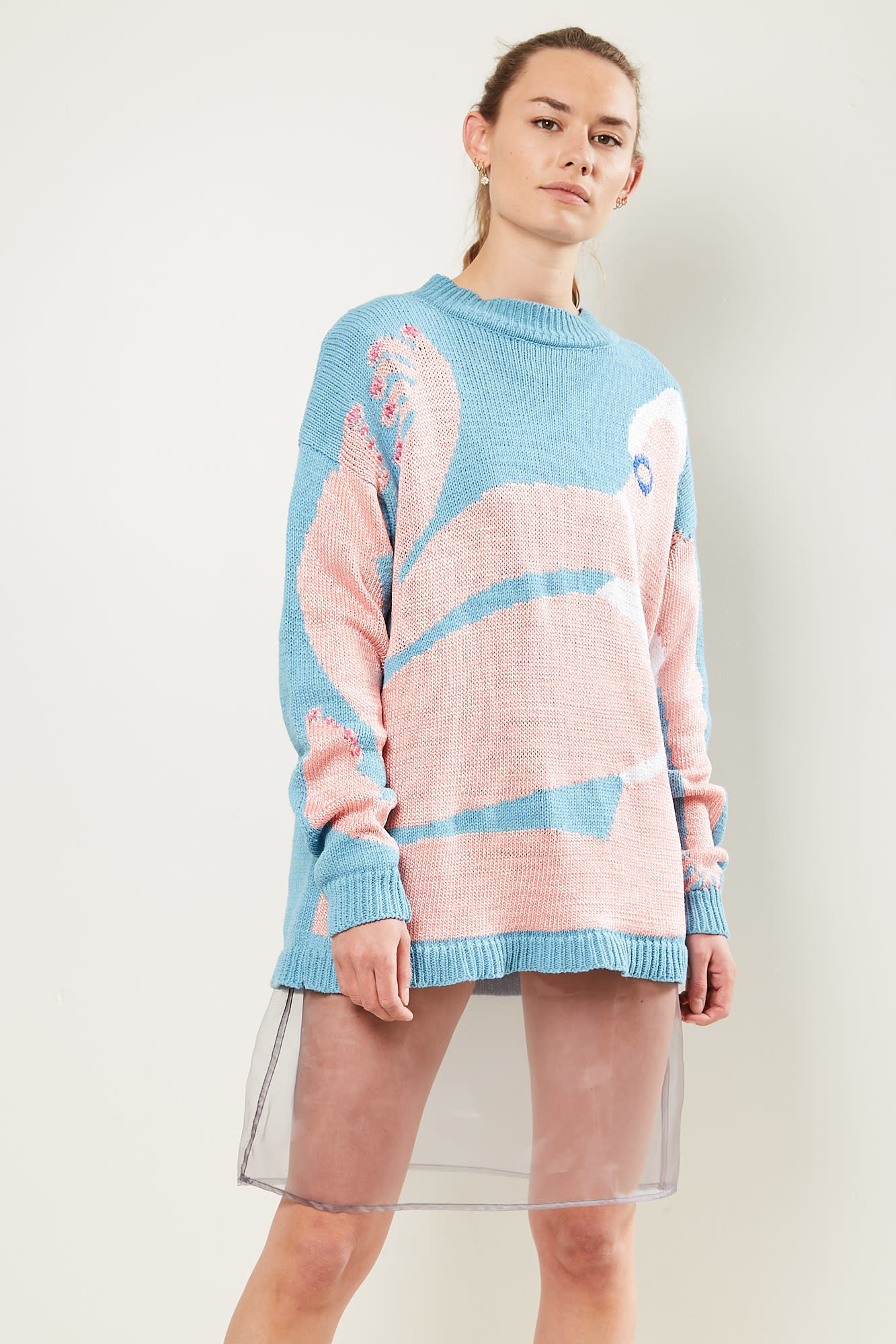 Survival of the fashionest - Amber big Vittoria's full bodies sweater light blue