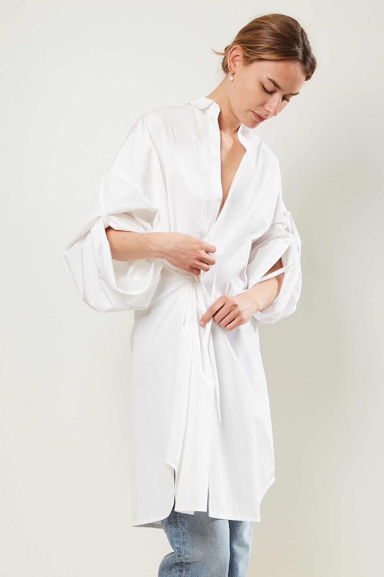 Monique van Heist no10 white cotton shirt dress