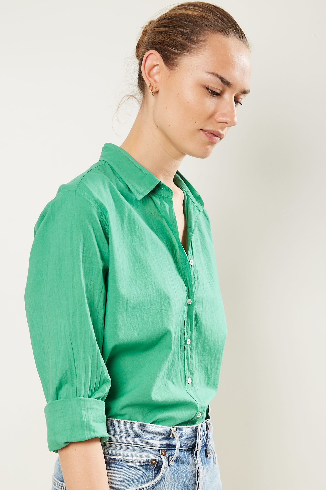 Xirena Beau cotton poplin shirt Palm Green