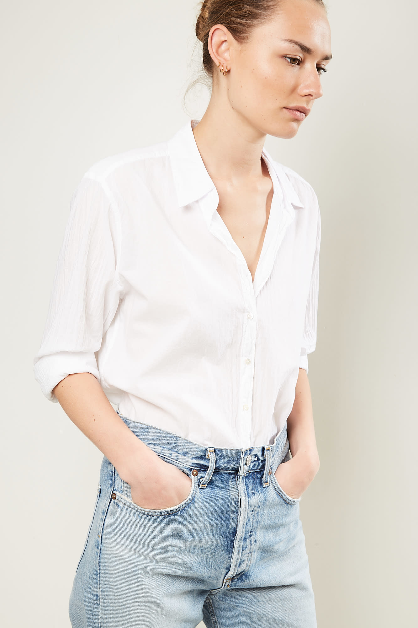 Xirena Beau cotton poplin shirt white