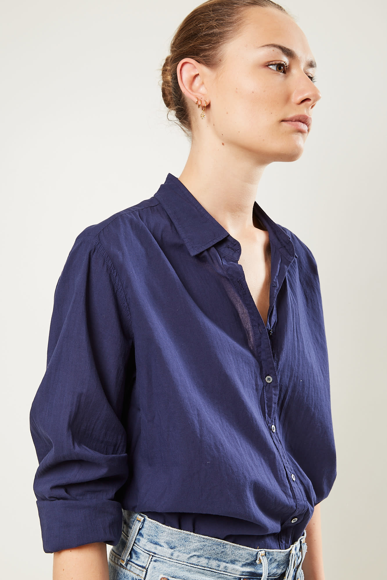 Xirena Beau cotton poplin shirt marine blue
