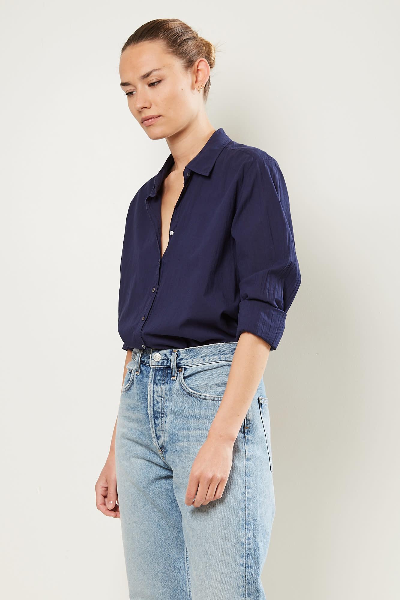 Xirena - Beau cotton poplin shirt marine blue