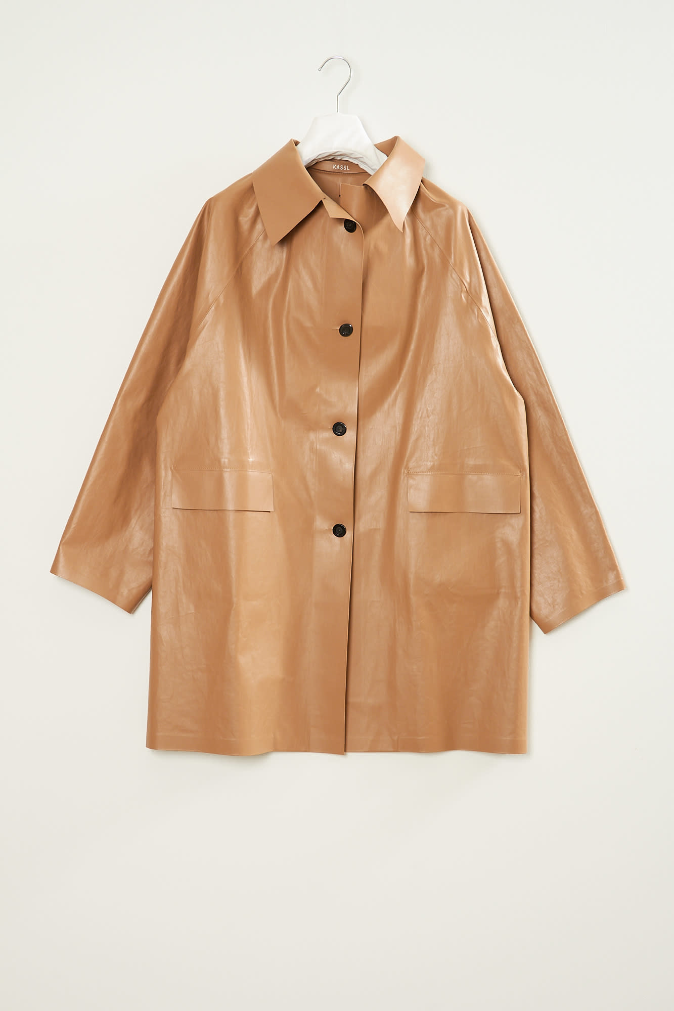 KASSL - ABOVE THE KNEE OIL BROWN TRENCH coat