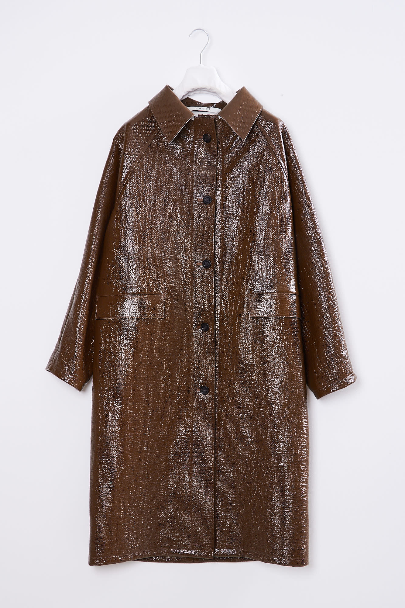 KASSL - DOUBLE FACED LACQUER BROWN CHECK BELOW THE KNEE COATDOUBLE FACED LACQUER BROWN/ CHECK BELOW THE KNEE COAT