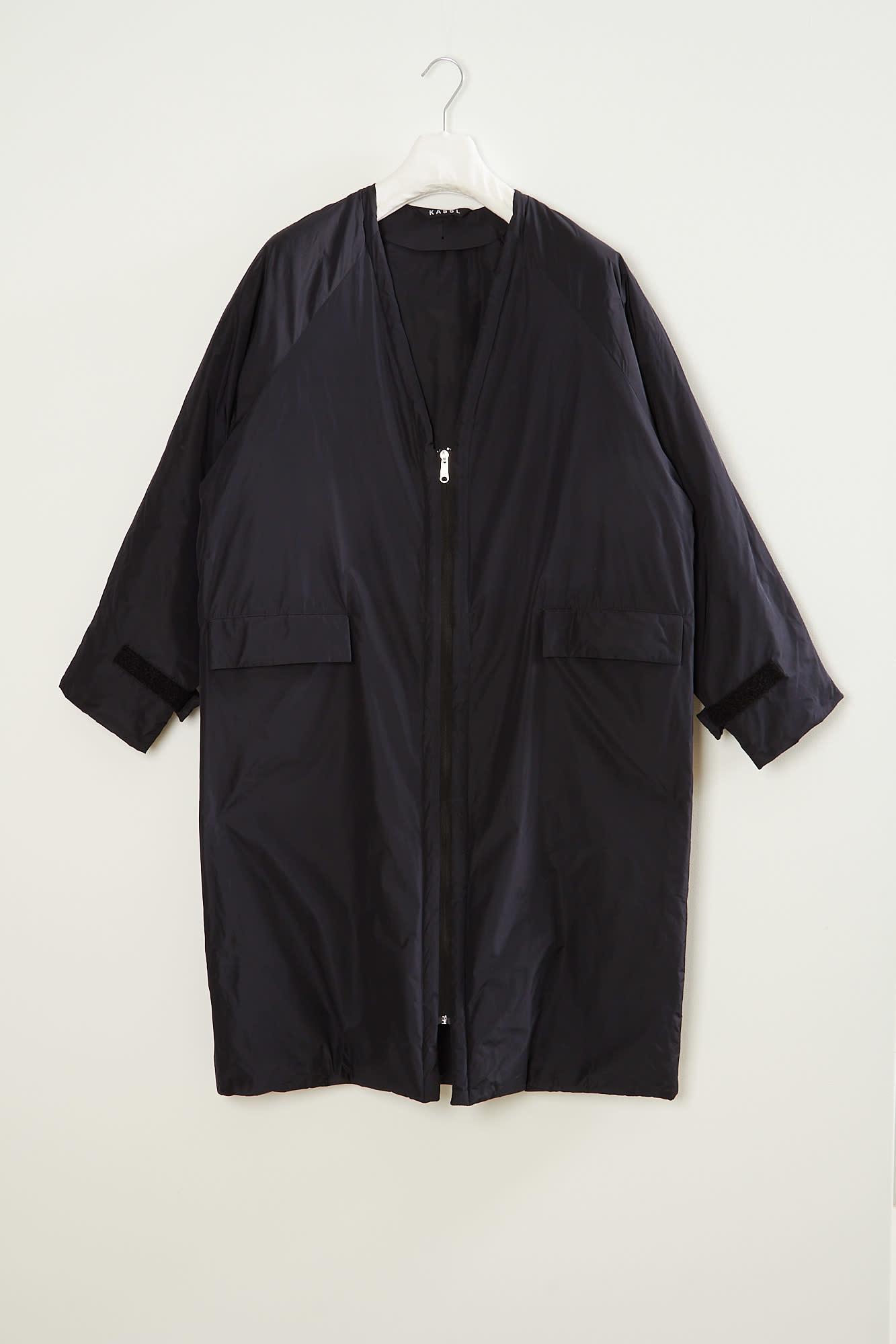 KASSL - Micro Tafta  V Neck Padded Sheepskin Patchwork coat
