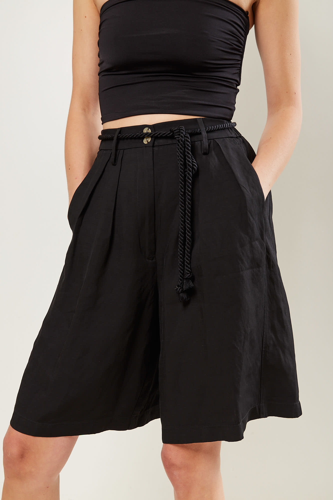 Forte Forte Viscose linen piquet belted bermuda pants