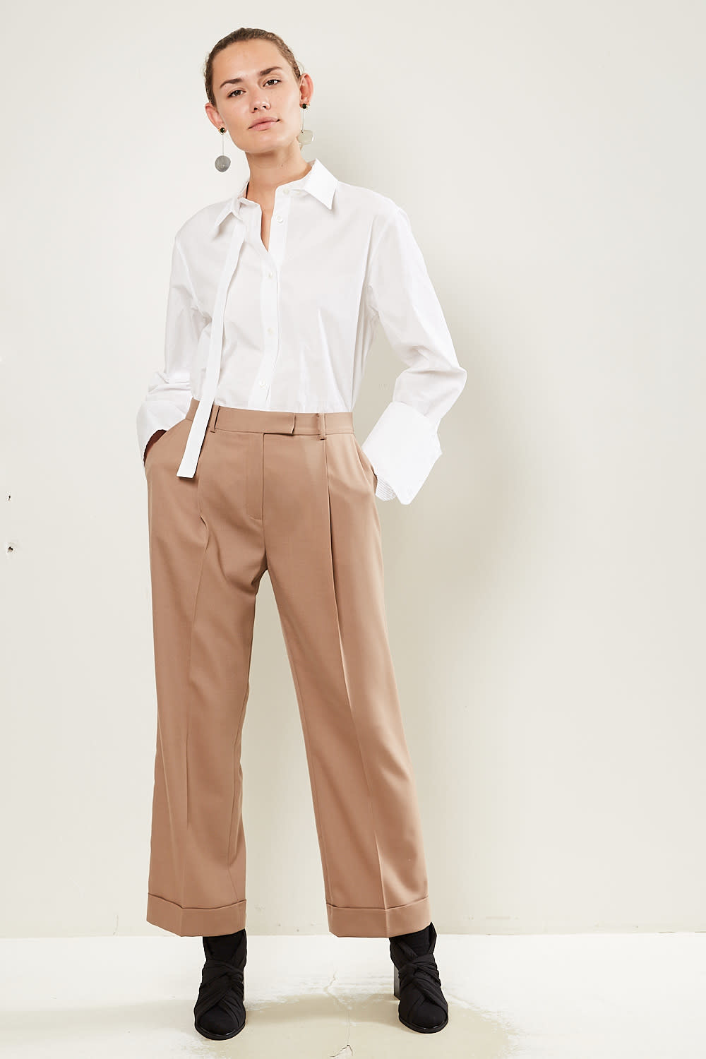 Frenken Detail light suiting wool pants