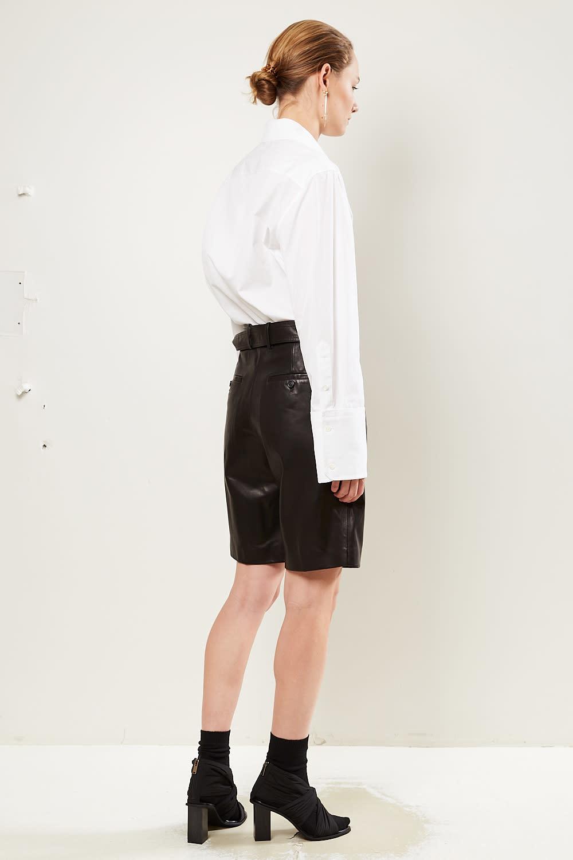 Helmut Lang - Leather wrap short