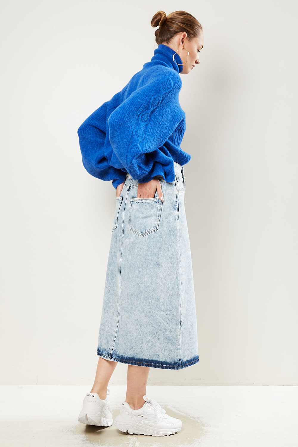Les Coyotes de Paris Yilan acid denim skirt