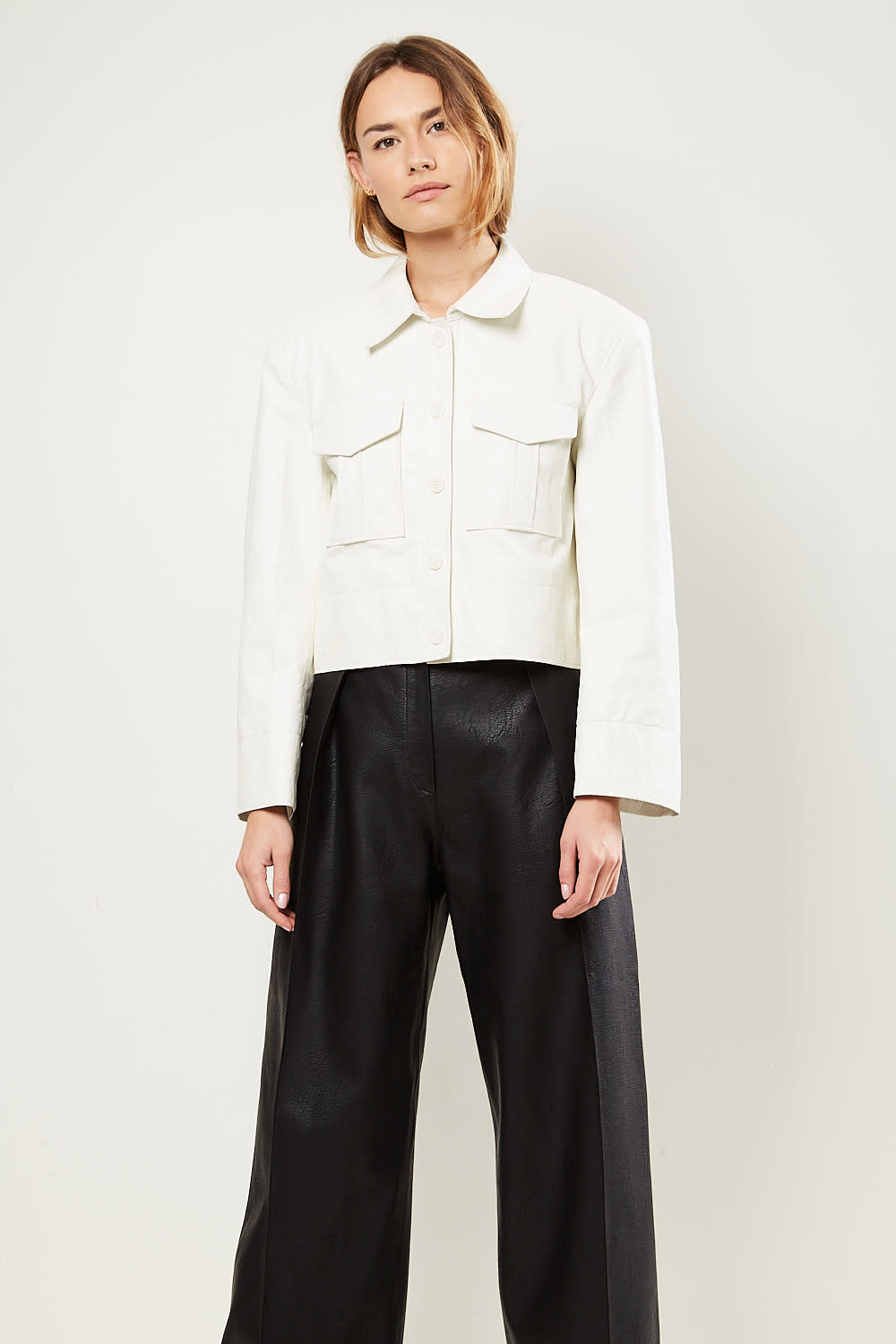 Drae Faux leather button jacket