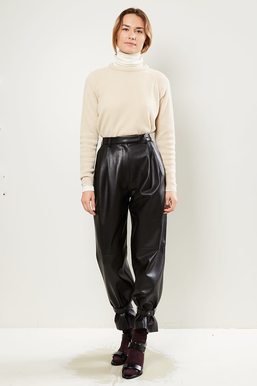 Drae - Faux leather wide pants