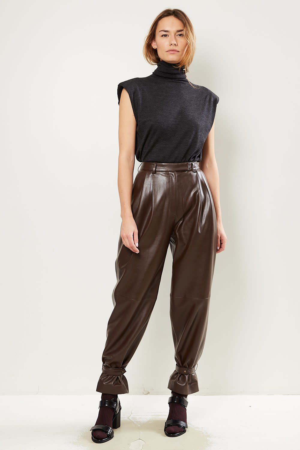 Drae Faux leather wide pants