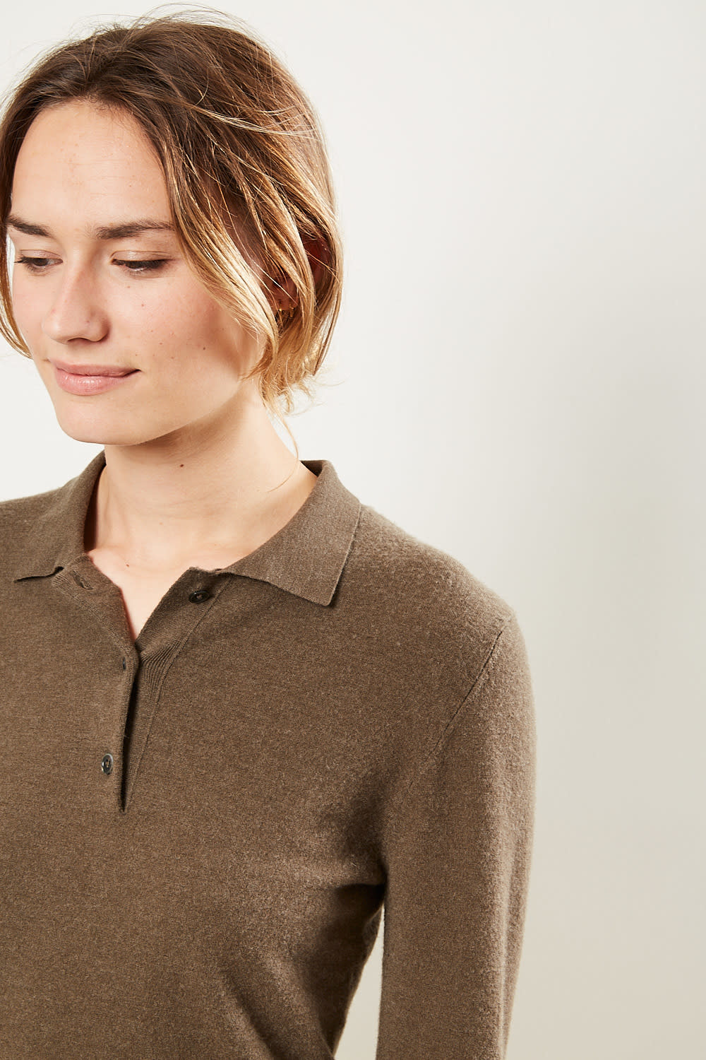 extreme cashmere - No121 rugby 2/60 long sleeve polo shirt brown