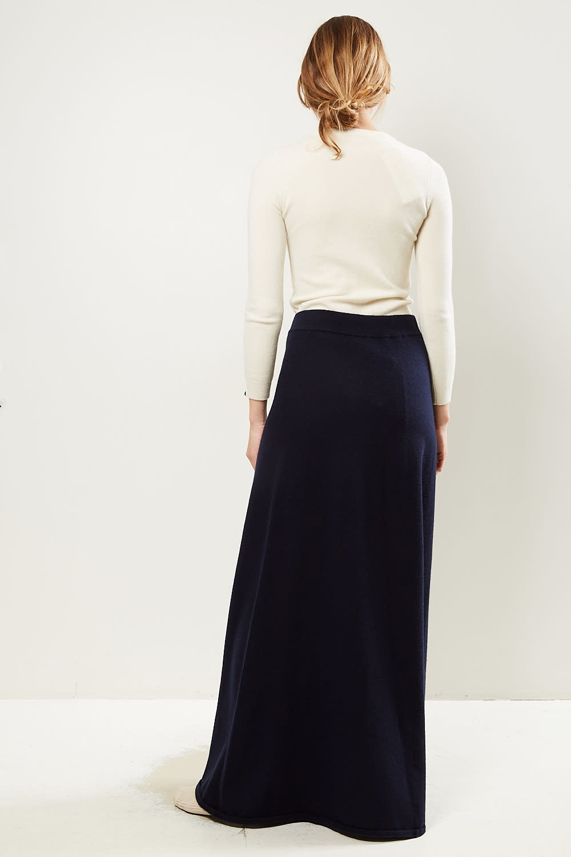 extreme cashmere - No122 sas 2/60 a line maxi skirt navy
