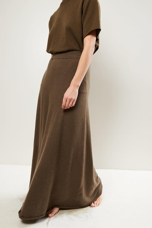 extreme cashmere No122 sas 2/60 a line maxi skirt brown