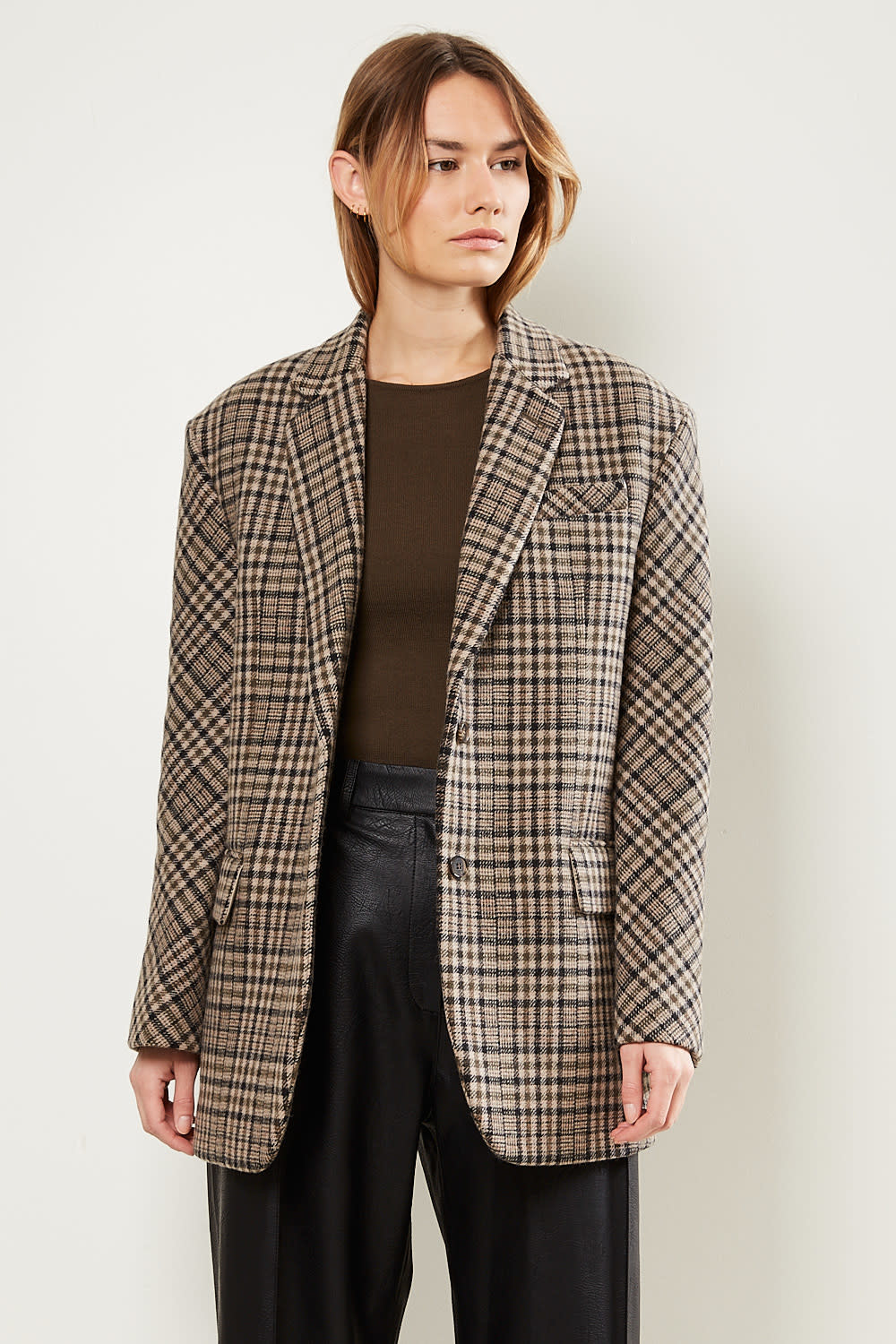 Drae Check wool blend jacket