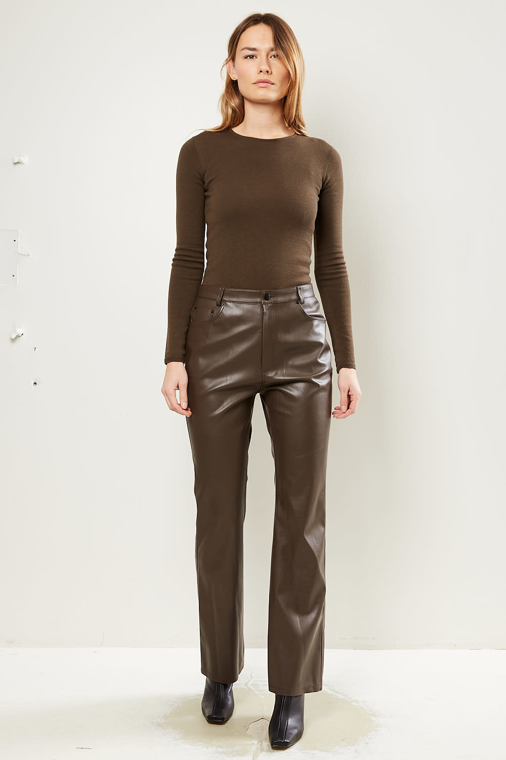 Drae - Faux leather bootcut pants