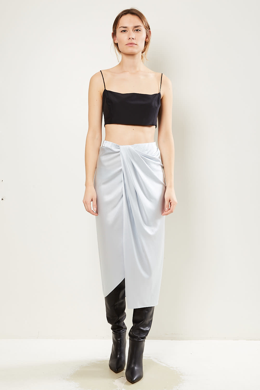 Helmut Lang Ruched silk skirt
