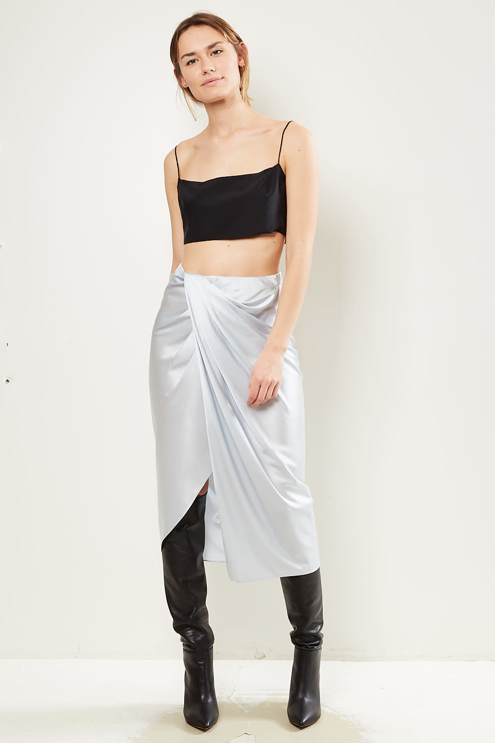 Helmut Lang - Ruched silk skirt
