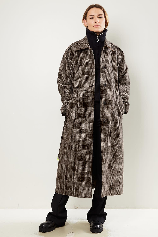 Frenken Love mixed check wool coat