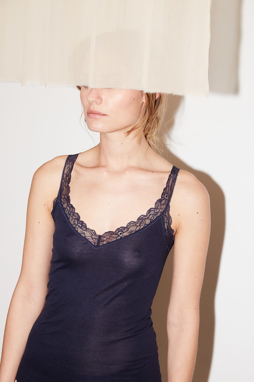 hanro - ida cotton silk lace tank top