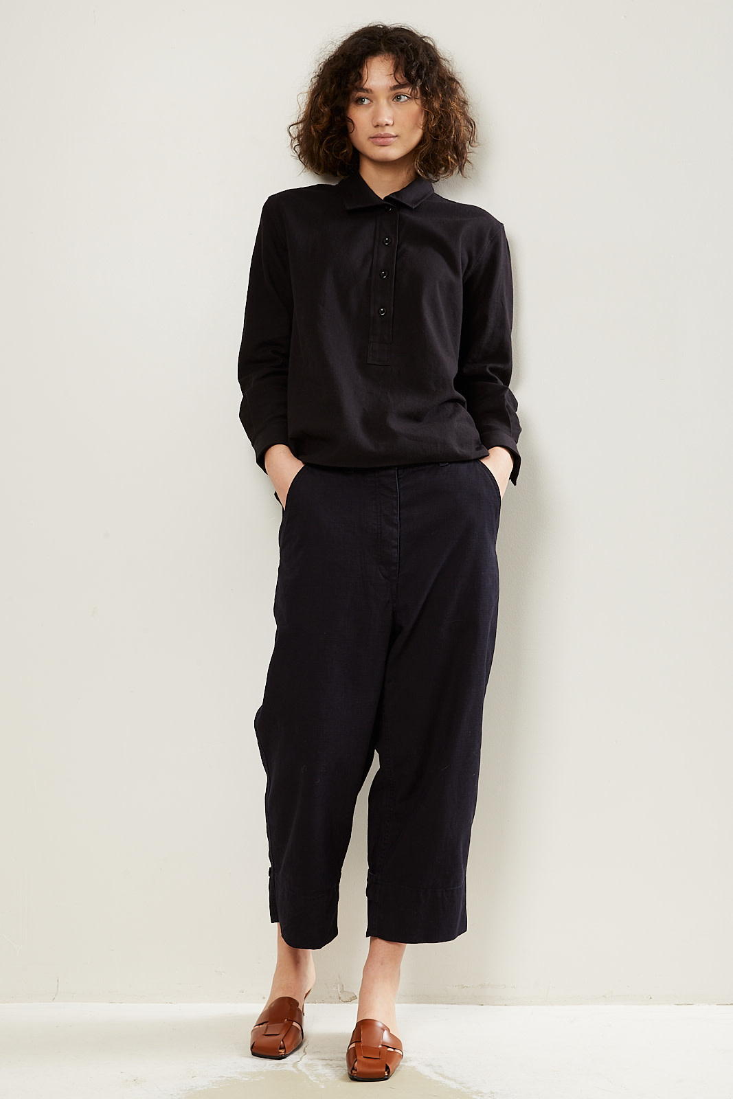 Margaret Howell - MHL cropped ankle tab trousers