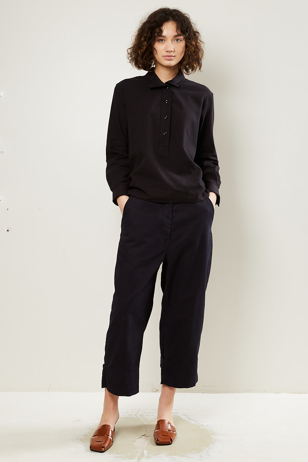 Margaret Howell MHL cropped ankle tab trousers