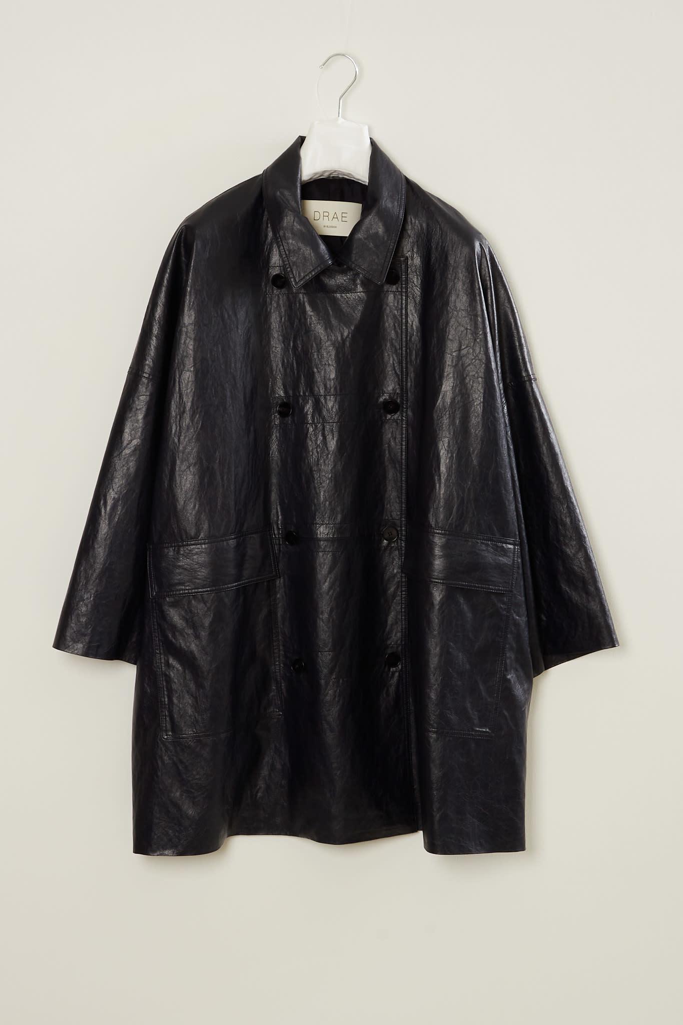 Drae - Faux leather boxy coat