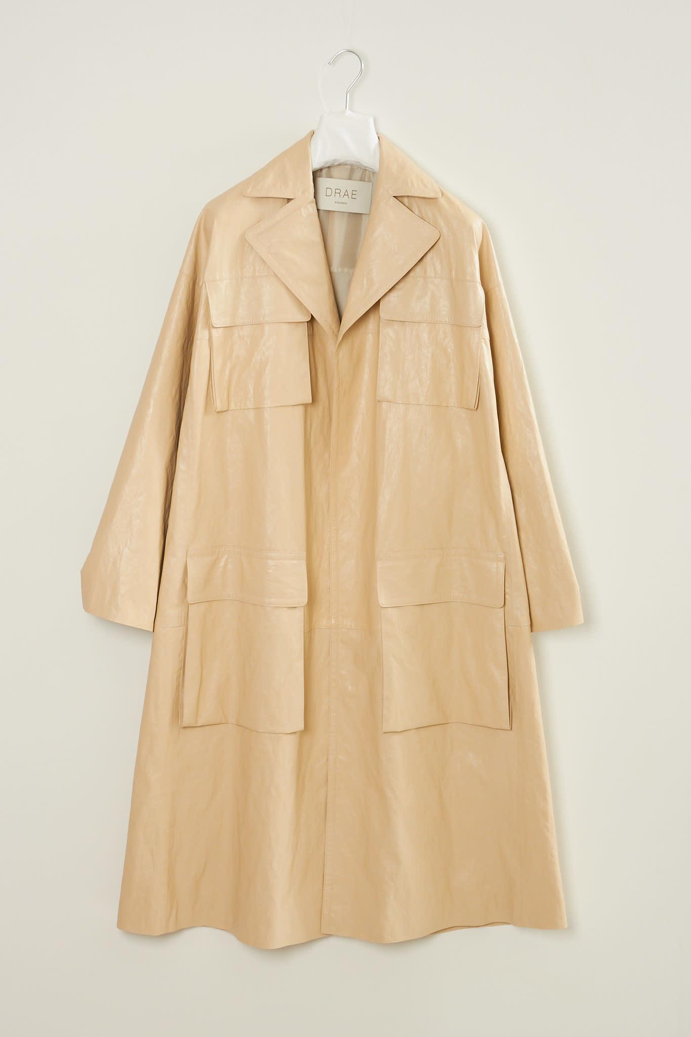 Drae - Faux leather pocket coat