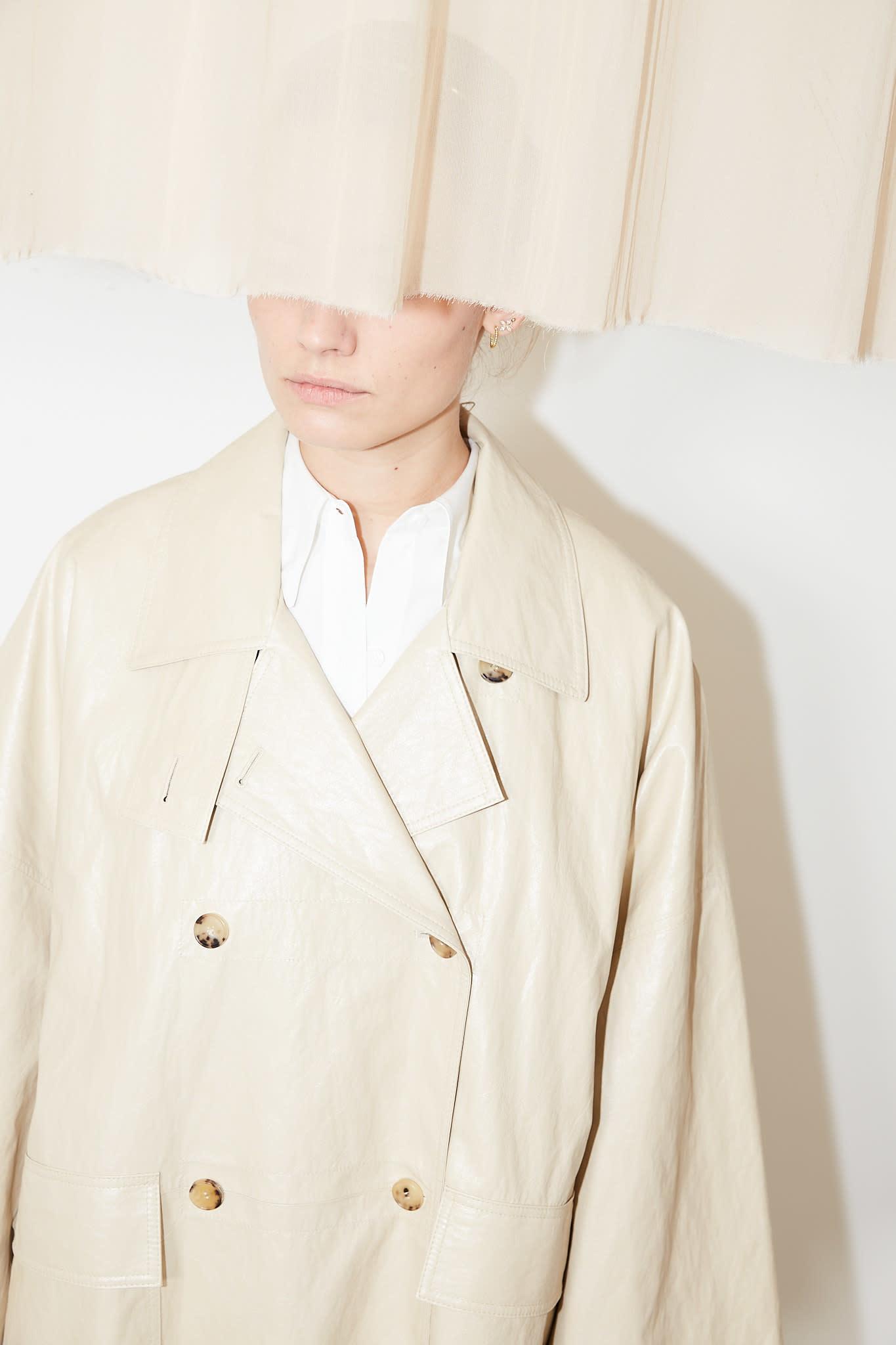 Drae Faux leather boxy coat