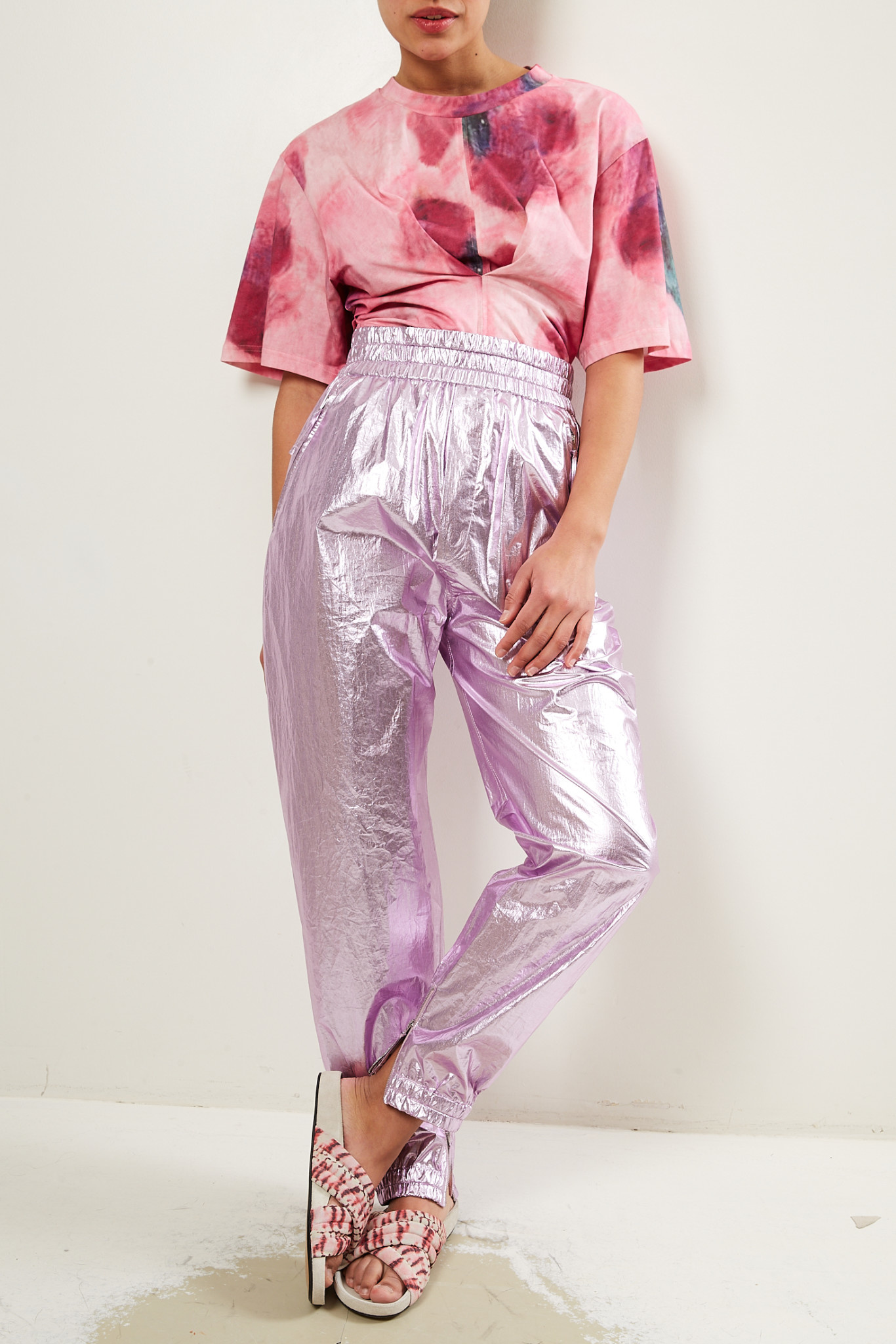 Isabel Marant Galoni metallic cotton trousers