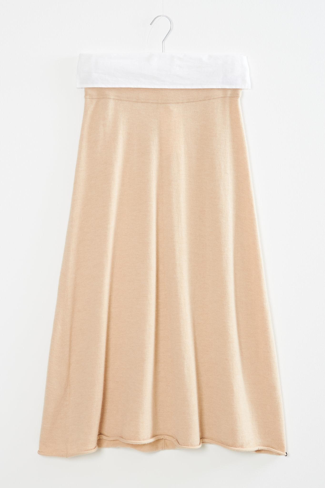 extreme cashmere Midi cashmere skirt beige