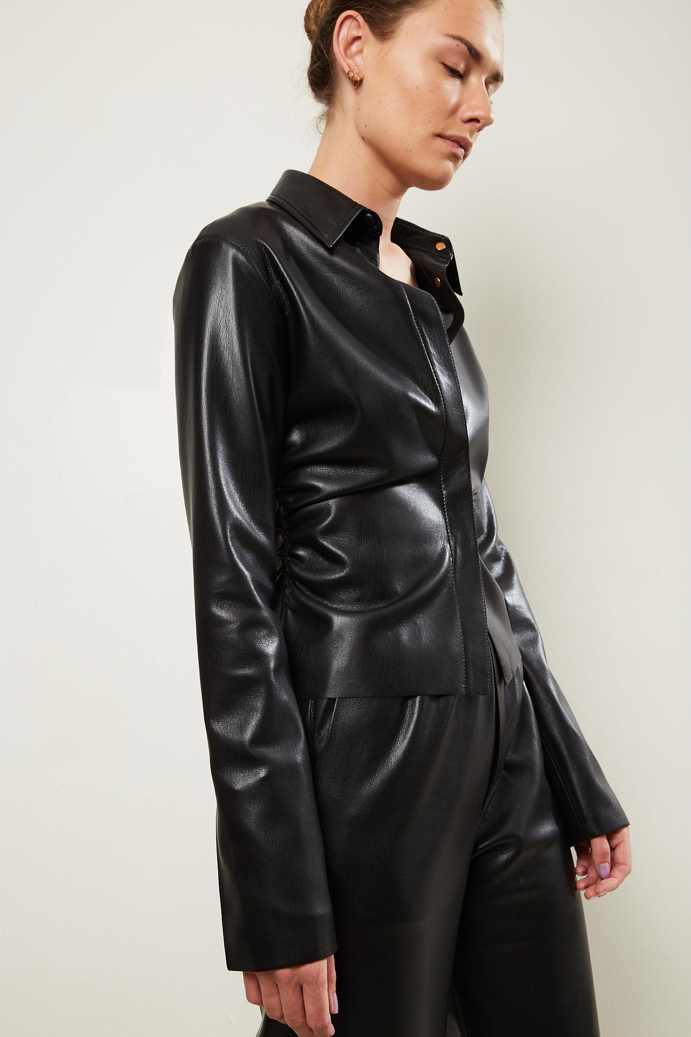 Nanushka Shado vegan leather shirt