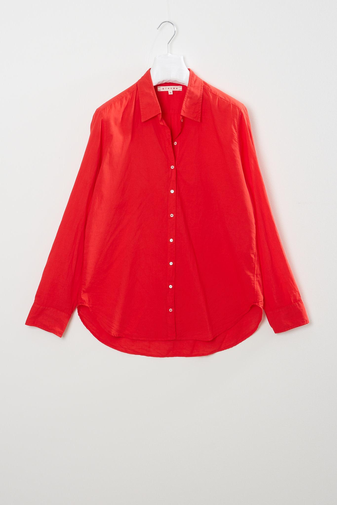Xirena - Beau cotton poplin shirt red torch