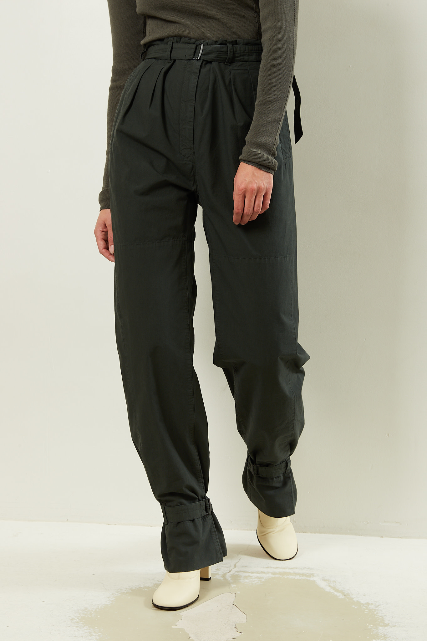 Lemaire Pleated pants with straps