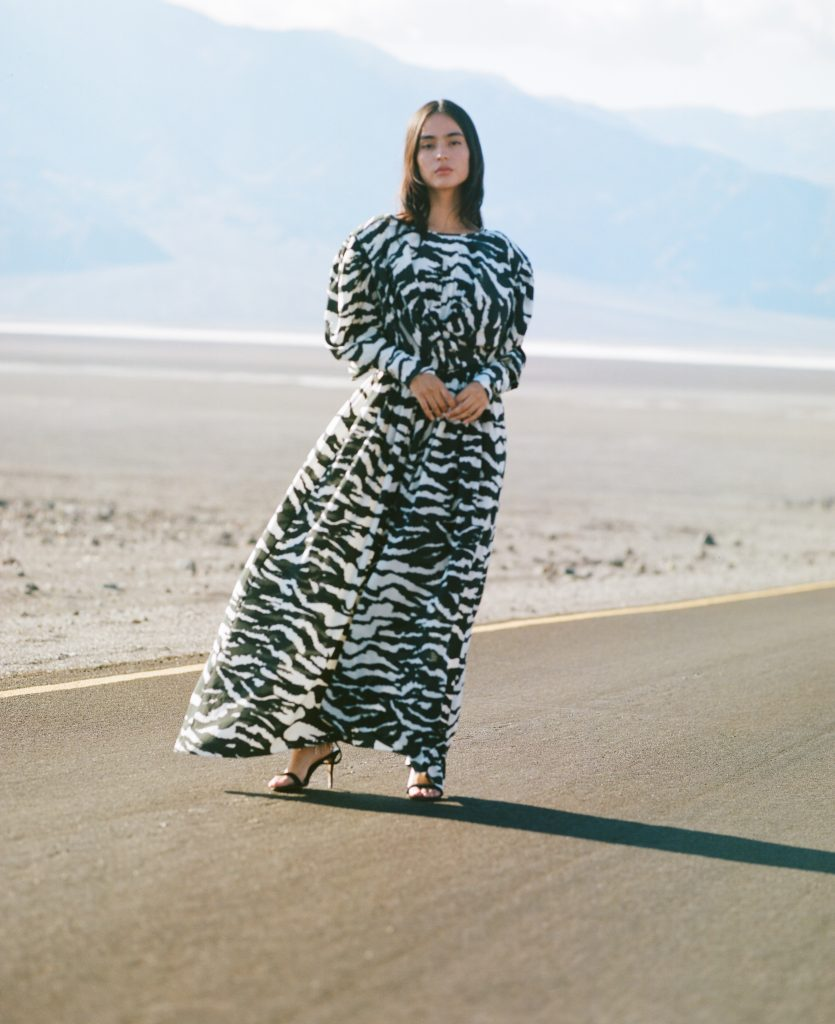 <strong>ISABEL MARANT</strong>Black and white silk-blend Filao twisted-waist dress from Isabel Marant in a zebra print