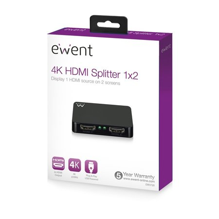 4K @30Hz active HDMI Splitter 1 to 2, USB powered