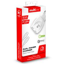 Multiline  ThuisLader met 2 USB Poorten 2.4A + Micro USB Kabel
