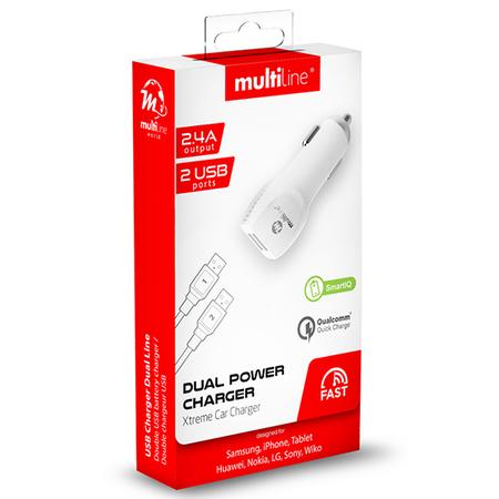 Multiline  AutoLader met 2 USB Poorten 2.4A + Micro USB Kabel