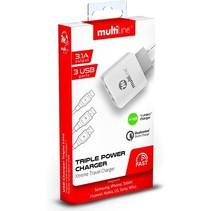 Multiline ThuisLader met 3 USB Poorten 3.1A + Micro USB Kabel