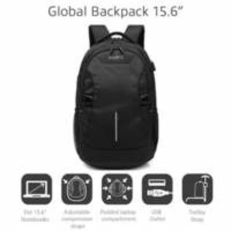 Global Notebook Backpack 15,6, BLACK with USB connecti