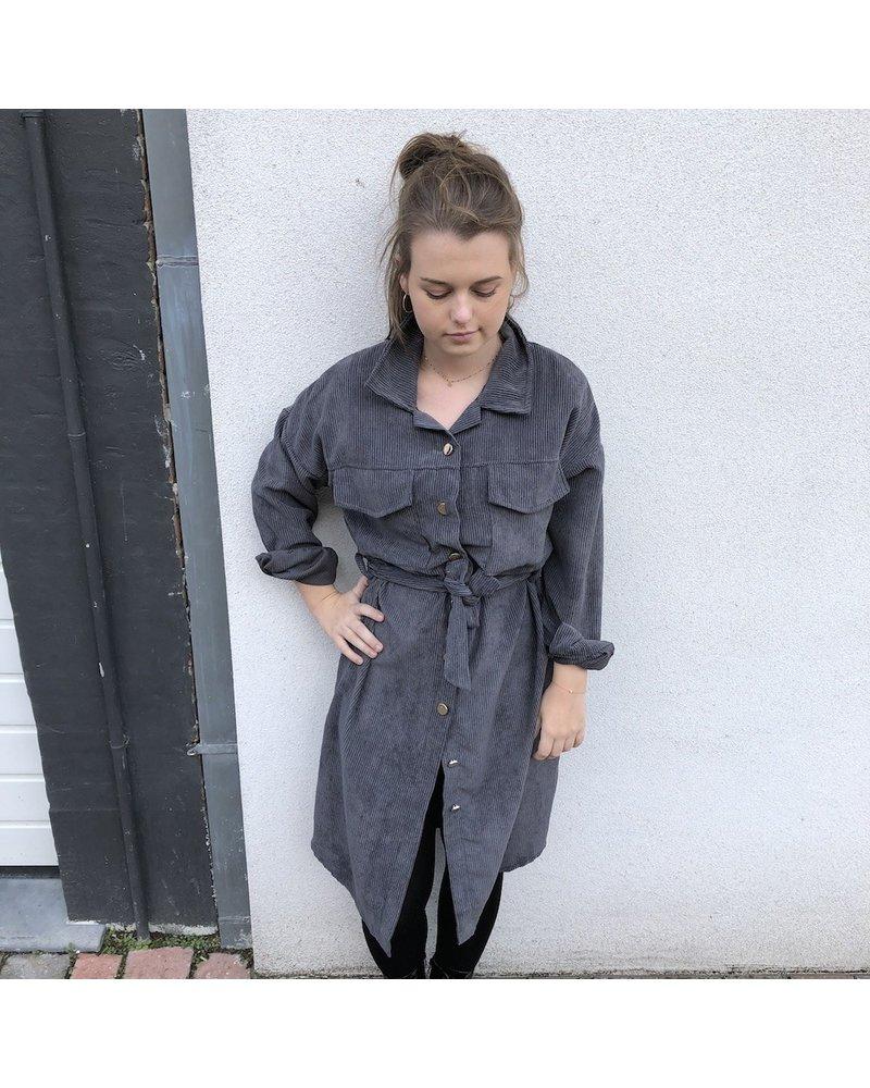 Dress ribfluweel grijs TU