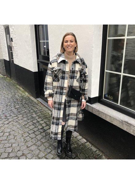Maxi coat geruit beige