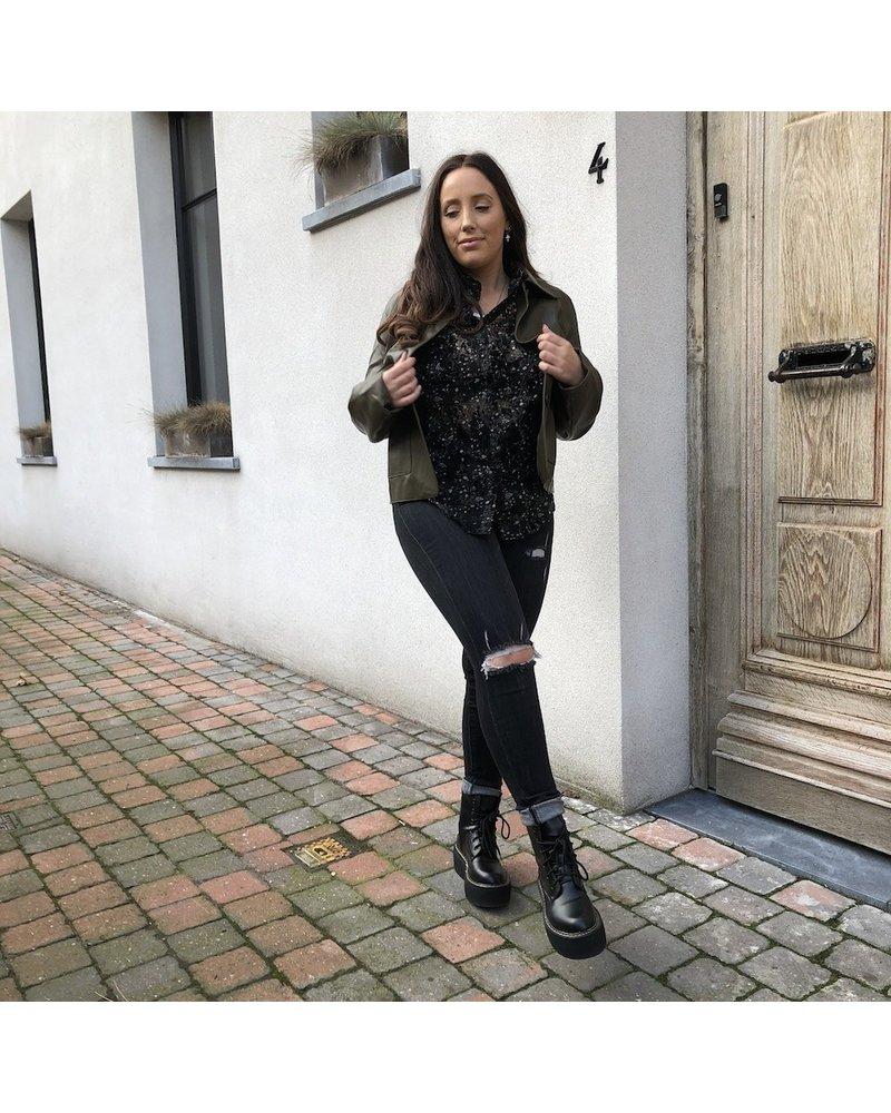 Leatherlook jacket kaki