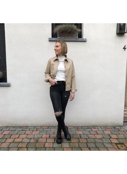 leatherlook bloes beige