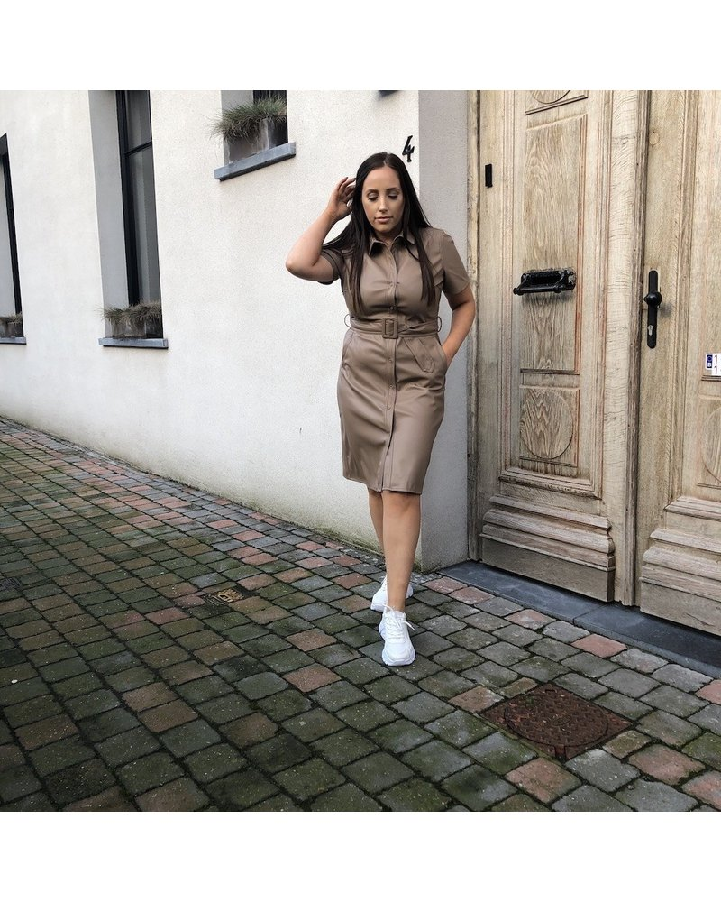 Leatherlook dress taupe