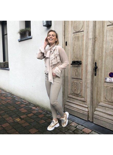 Ruffled blouse beige