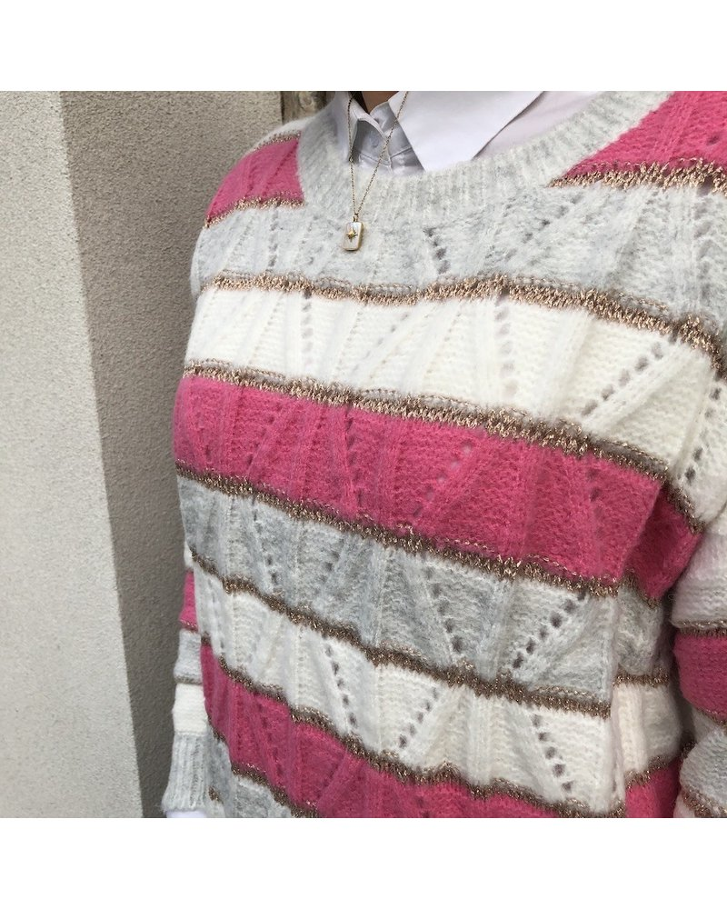 Grey/fuchsia striped jumper