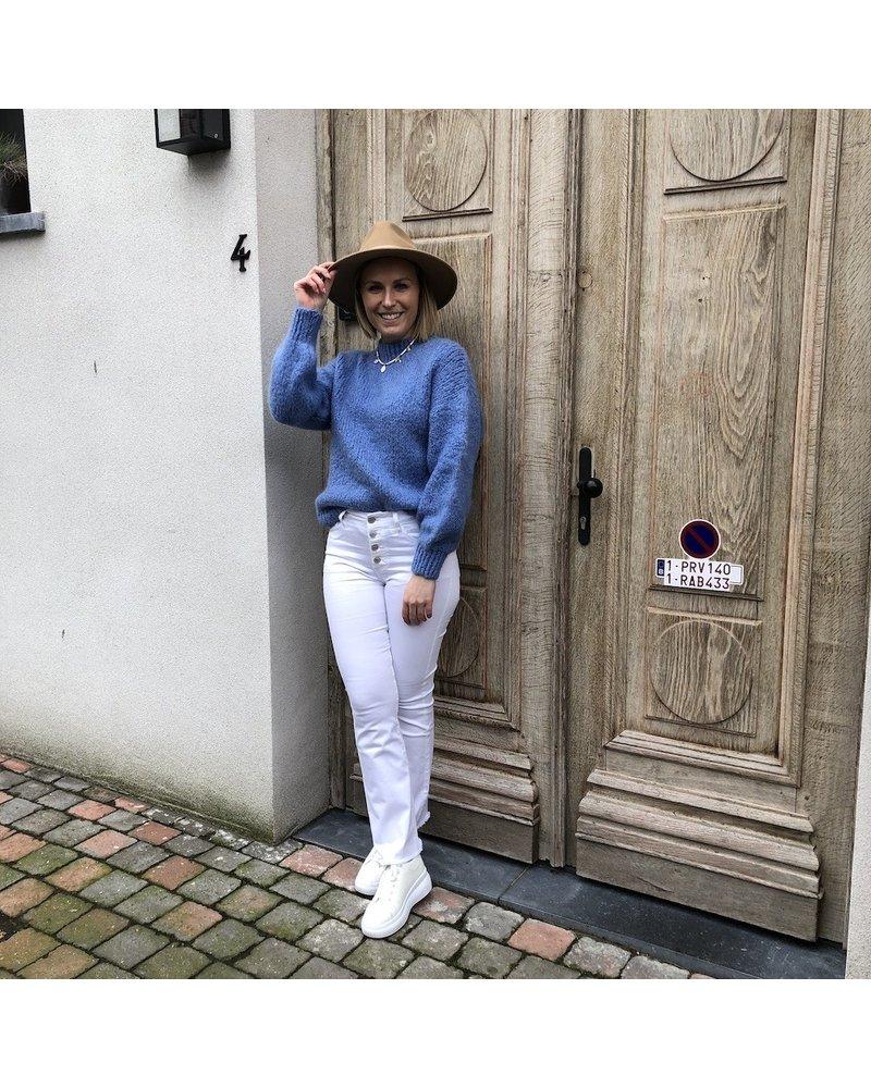 Grofgebreide trui royal blue