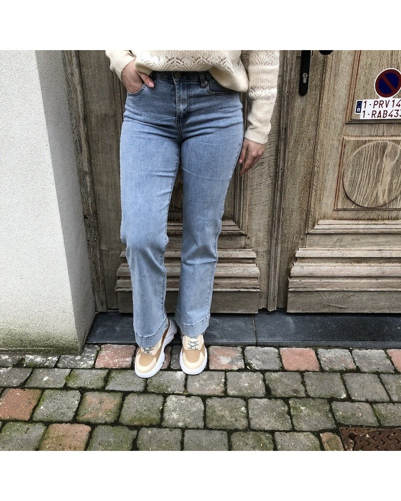 light blue flared jeans
